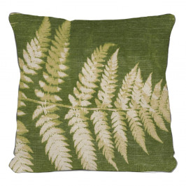 Zelený vankúš s motívom listu Linen Couture Leaves, 45 x 45 cm