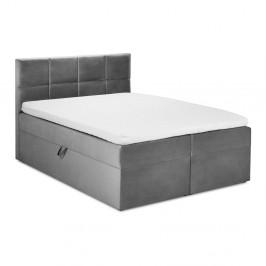 Sivá zamatová dvojlôžková posteľ Mazzini Beds Mimicry,200x200 cm