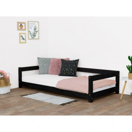 Čierna detská posteľ zo smrekového dreva Benlemi Study, 90 x 180 cm