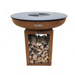 Hnedý vonkajší gril na drevené uhlie Remundi Carus S, výška 72 cm