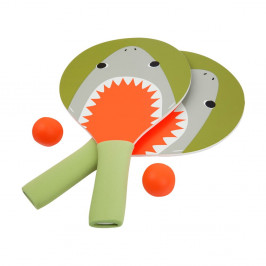 Set 2 rakiet a loptičiek na stolový tenis Sunnylife Shark Attack