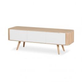 Televízny stolík z dubového dreva Gazzda Ena, 135×42×45 cm