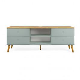 Zelený TV stolík s detailmi v dekore dubového dreva Tenzo Dot, šírka 162 cm