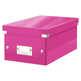 Ružová úložná škatuľa s vekom Leitz DVD Disc, dĺžka 35 cm