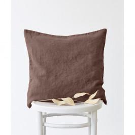 Hnedá ľanová obliečka na vankúš Linen Tales, 45 x 45 cm