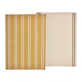Súprava 2 žltých utierok z bavlny Södahl, 50x70cm