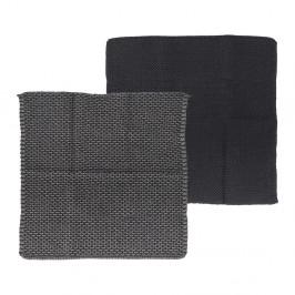 Súprava 2 čierno-sivých kuchynských utierok z bavlny Södahl, 30x30cm