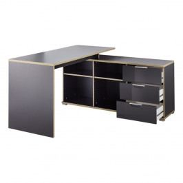 Čierny pracovný stôl s odkladacím stolíkom so zásuvkami Germania X