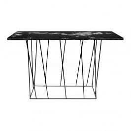 Čierny mramorový konzolový stolík s čiernymi nohami TemaHome Helix