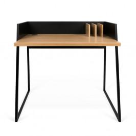 Čierny pracovný stôl s detailmi v dekore dubového dreva TemaHome Volga