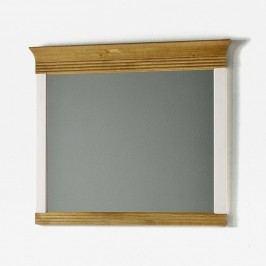 Biele nástenné zrkadlo z borovicového dreva SOB Harald