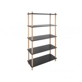 Čierny regál s bambusovými nohami Leitmotiv Cabinet Simplicity