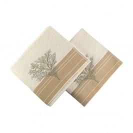 Sada 2 krémových bavlnených uterákov Infinity, 50 × 90 cm