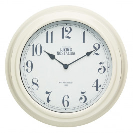 Krémové nástenné hodiny Kitchen Craft Living Nostalgia, 25,5 cm