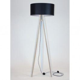 Biela stojacia lampa s čiernym tienidloma čierno-bielym káblom Ragaba Wanda