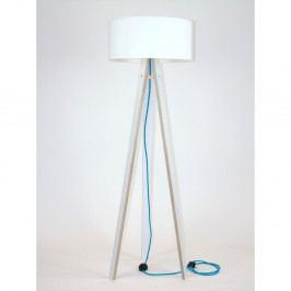 Biela stojacia lampa s bielym tienidloma tyrkysovým káblom Ragaba Wanda