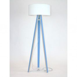 Modrá stojacia lampa s bielym tienidloma transparentným káblom Ragaba Wanda