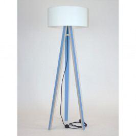 Modrá stojacia lampa s bielym tienidloma čiernym káblom Ragaba Wanda