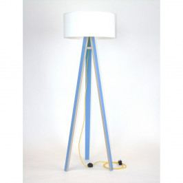 Modrá stojacia lampa s bielym tienidloma žltým káblom Ragaba Wanda