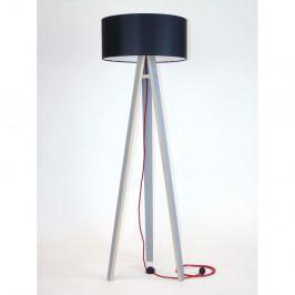 Sivá stojacia lampa s čiernym tienidloma červeným káblom Ragaba Wanda