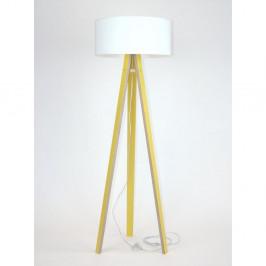 Žltá stojacia lampa s bielym tienidloma transparentným káblom Ragaba Wanda