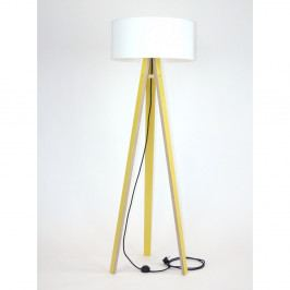 Žltá stojacia lampa s bielym tienidloma čiernym káblom Ragaba Wanda