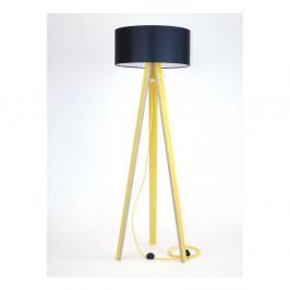 Žltá stojacia lampa s čiernym tienidloma žltým káblom Ragaba Wanda
