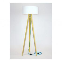 Žltá stojacia lampa s bielym tienidloma tyrkysovým káblom Ragaba Wanda