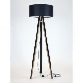 Čierna stojacia lampa s čiernym tienidloma čierno-bielym káblom Ragaba Wanda