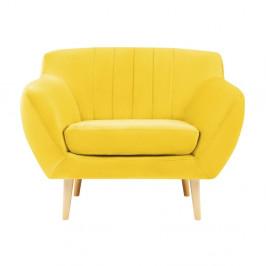 Žlté kreslo so svetlými nohami Mazzini Sofas Sardaigne