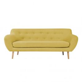 Žltá dvojmiestna pohovka so svetlými nohami Mazzini Sofas Sicile