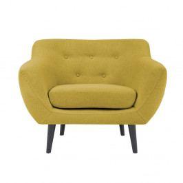 Žlté kreslo s hnedými nohami Mazzini Sofas Piemont