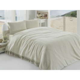 Krémový ľahký bavlnený pléd cez posteľ Pique, 220 x 240 cm