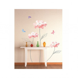 Samolepka Ambiance Light Pink Flowers And Butterflies