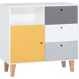 Bielo-sivá komoda so žltým detailom Vox Concept