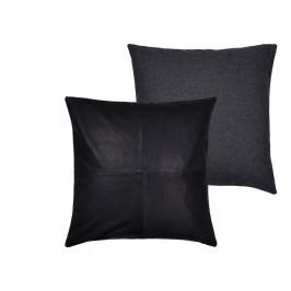 Súprava 2 čiernych vankúšov z vlny a kože Södahl Vincent, 45 x 45 cm