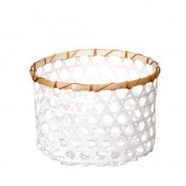 Biely bambusový košík a'miou home Shadows, ⌀ 33 cm