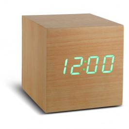 Svetlohnedý budík so zeleným LED displejom Gingko Cube Click Clock