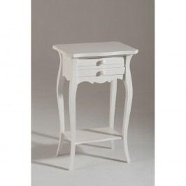 Biely drevený odkladací stolík s 2 zásuvkami Castagnetti Corinne