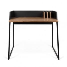 Čierny pracovný stôl s detailmi v dekore orechového dreva TemaHome Volga