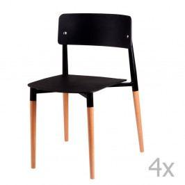 Sada 4 čiernych jedálenských stoličiek sdrevenými nohami sømcasa Claire