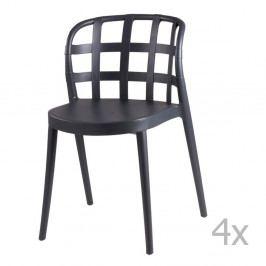 Sada 4 tmavosivých jedálenských stoličiek sømcasa Gina