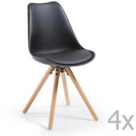 Sada 4 čiernych jedálenských stoličiek s drevenou podnožou La Forma Lars