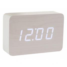 Biely budík s bielym LED displejom Gingko Brick Click Clock