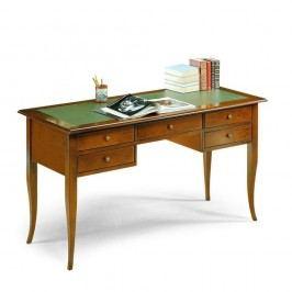 Drevený pracovný stôl s 5 zásuvkami azeleným koženým povrchom Castagnetti Noce