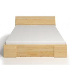 Dvojlôžková posteľ z borovicového dreva so zásuvkou Skandica Sparta Maxi, 140×200cm
