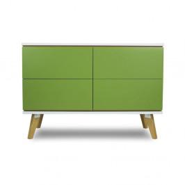 Komoda v dekore dreva so 4 zásuvkami a so zelenými detailmi SKANDICA Jorgen