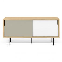TV komoda v dekore dubového dreva so sivo-bielymi detailmi TemaHome Dann, dĺžka 135cm