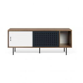 TV komoda v dekore orechového dreva s čierno-bielymi detailmi TemaHome Dann Dots, dĺžka 165cm