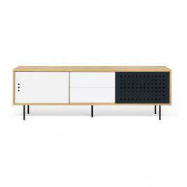 TV komoda v dekore dubového dreva s čierno-bielymi detailmi TemaHome Dann Dots, dĺžka 201cm